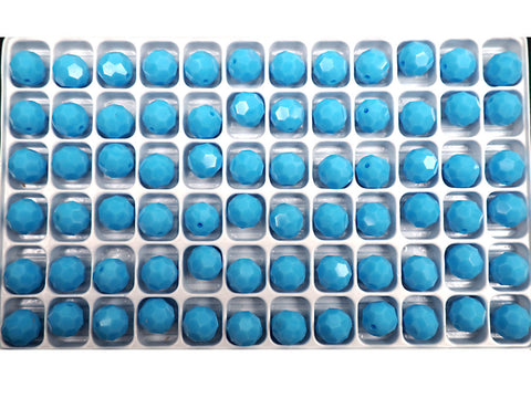 Turquoise Blue, Czech Machine Cut Round Crystal Beads (Blue Turquoise)