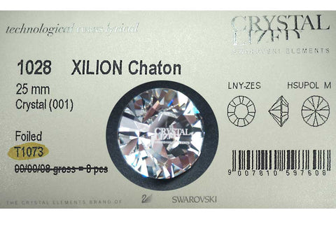 "Swarovski Art.# 1028 - 25mm Large Swarovski Elements Xilion Chaton #1028, Crystal T1073 (""Crystallized Swarovski Elements"" engraved), Foiled. Impressive Rhinestone for display"