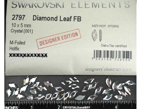 Swarovski Art.# 2797HF - 12 Swarovski Diamond Leaf Flatback HotFix in size 10x5mm, clear Crystal (Iron-on)