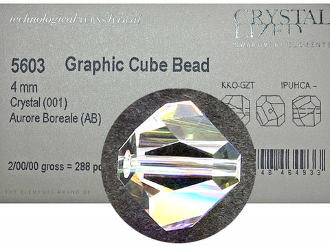 Swarovski Art.# 5603 - 3mm and 4mm Crystal AB coated Graphic Cube Beads