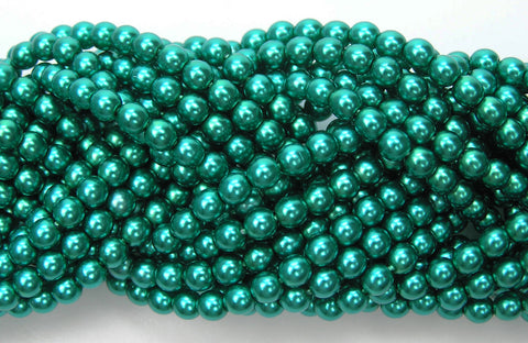 Czech Round Glass Imitation Pearls, Teal Green Pearl color