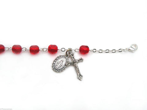 12 fine quality Czech Bracelet Auto Rosaries Fire Polished Red Light Siam, rosary