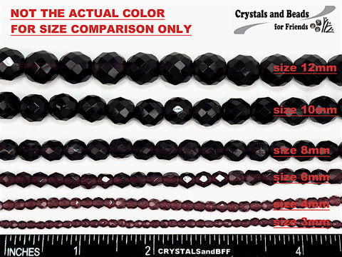 Jet AB2X Fully coated, loose Czech Fire Polished Round Faceted Glass Beads