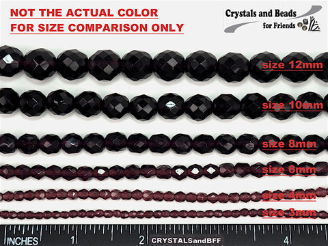 California Pink (Black Aurum Copper), Czech Fire Polished Round Faceted Glass Beads, 16 inch strand