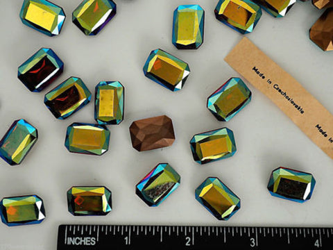 6 Vintage Czechoslovakian Glass Table Cut Octagons 18x13mm Dark Topaz AB, P14