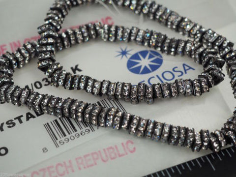 144 Preciosa Genuine Czech Rhinestone Squaredelles 4.5mm Crystal clear Black Plated (Squaredelle, Square Rondelle)