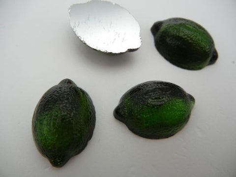 4 VINTAGE West German hand made fruit cabochons 23x16mm Lime Dark Olivine clear #13 ii