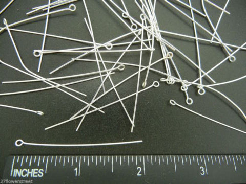 400 Eye pins 51mm (2 inch), Silver Plated, 0.7mm wire 21 gauge, zz