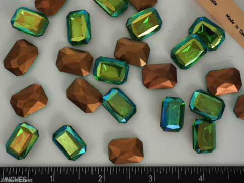 6 Vintage Czechoslovakian Glass Table Cut Octagons 18x13mm Peridot AB, P04 green