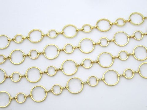 6+ feet of jewelry round and dash gold plated linked chain, zz 119