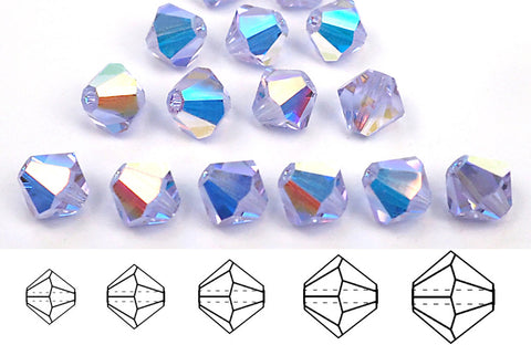 Alexandrite AB, Czech Glass Beads, Machine Cut Bicones (MC Rondell, Diamond Shape), pale blue to violet changing color crystals coated with Aurora Borealis