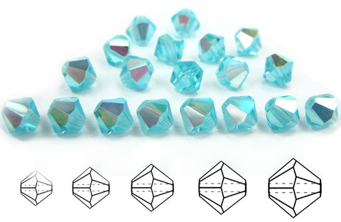 Aqua AB, Czech Glass Beads, Machine Cut Bicones (MC Rondell, Diamond Shape), Aquamarine Aqua Bohemica crystals coated with Aurora Borealis
