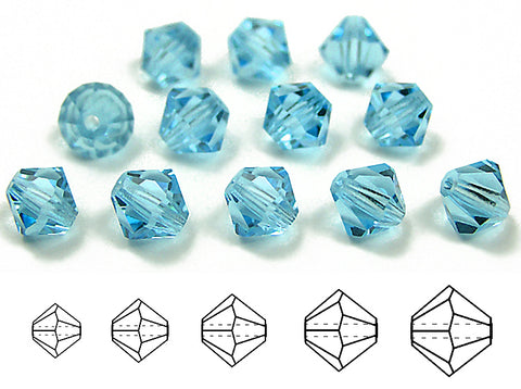 Aquamarine (Preciosa), Czech Glass Beads, Machine Cut Bicones (MC Rondell, Diamond Shape), Aqua blue crystals
