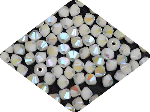 Chalk White full AB (AB2X), Czech Glass Beads, Machine Cut Bicones (MC Rondell, Diamond Shape), opaque chalkwhite crystals double-coated with Aurora Borealis