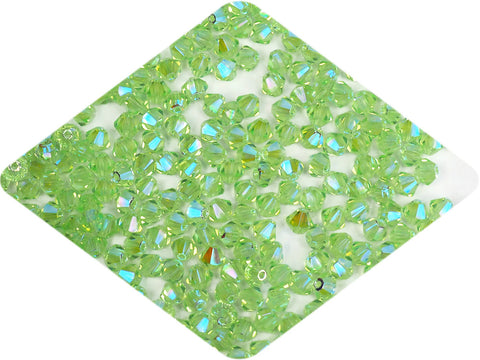 Chrysolite full AB (AB2X), Czech Glass Beads, Machine Cut Bicones (MC Rondell, Diamond Shape), light green crystals double-coated with Aurora Borealis