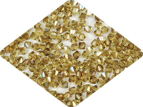 Citrine Celsian coated, Czech Glass Beads, Machine Cut Bicones (MC Rondell, Diamond Shape), yellow crystals coated with metallic celsianite