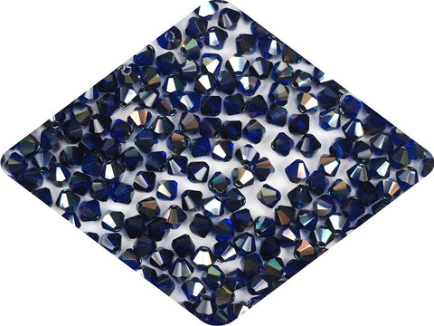 Cobalt Blue Celsian coated, Czech Glass Beads, Machine Cut Bicones (MC Rondell, Diamond Shape), navy blue crystals coated with metallic celsianite