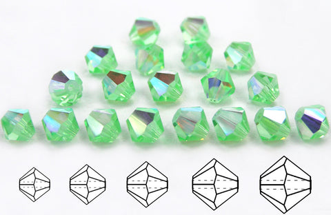 Chrysolite AB, Czech Glass Beads, Machine Cut Bicones (MC Rondell, Diamond Shape), pale green crystals coated with Aurora Borealis