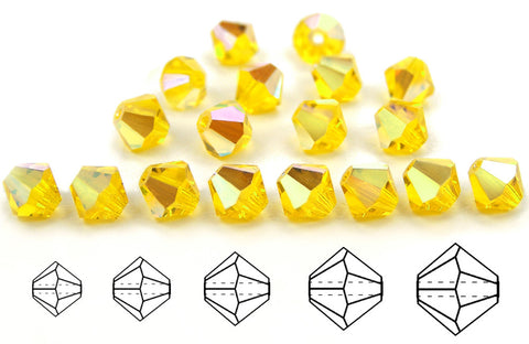 Citrine AB, Czech Glass Beads, Machine Cut Bicones (MC Rondell, Diamond Shape), deep yellow crystals coated with Aurora Borealis
