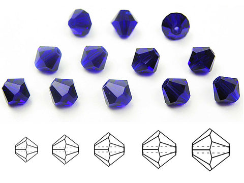 Cobalt Blue, Czech Glass Beads, Machine Cut Bicones (MC Rondell, Diamond Shape), navy blue crystals