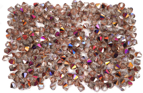 Crystal Sliperit (Pink Sliperit), Czech Glass Beads, Machine Cut Bicones (MC Rondell, Diamond Shape), clear crystals half coated with multi pink metallic