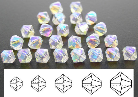Crystal AB2X fully coated, Czech Glass Beads, Machine Cut Bicones (MC Rondell, Diamond Shape), clear crystals double coated with Aurora Borealis