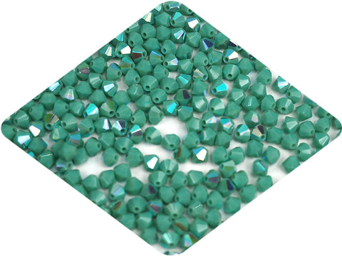 Green Turquoise AB, Czech Glass Beads, Machine Cut Bicones (MC Rondell, Diamond Shape), opaque green crystals coated with Aurora Borealis