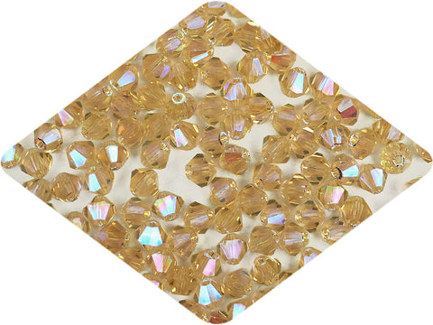 Light Colorado Topaz full AB (AB2X), Czech Glass Beads, Machine Cut Bicones (MC Rondell, Diamond Shape), light golden brown crystals double-coated with Aurora Borealis