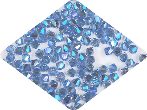 Light Sapphire full AB (AB2X), Czech Glass Beads, Machine Cut Bicones (MC Rondell, Diamond Shape), light blue crystals double-coated with Aurora Borealis