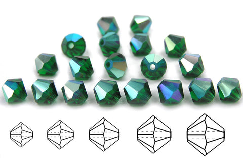 Medium Emerald AB, Czech Glass Beads, Machine Cut Bicones (MC Rondell, Diamond Shape), rich green crystals coated with Aurora Borealis
