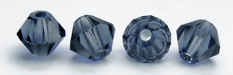 Montana, Czech Glass Beads, Machine Cut Bicones (MC Rondell, Diamond Shape), silvery blue crystals