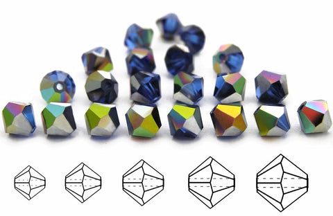 Sapphire Vitrail, Czech Glass Beads, Machine Cut Bicones (MC Rondell, Diamond Shape), blue crystals coated with Vitrail Medium