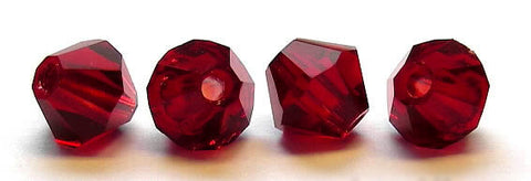 Siam, Czech Glass Beads, Machine Cut Bicones (MC Rondell, Diamond Shape), red crystals