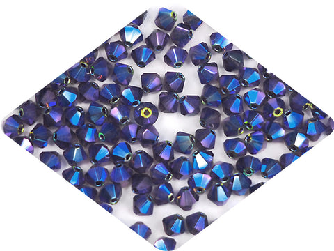 Tanzanite full AB (AB2X), Czech Glass Beads, Machine Cut Bicones (MC Rondell, Diamond Shape), dark purple crystals double-coated with Aurora Borealis
