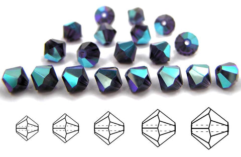Tanzanite AB, Czech Glass Beads, Machine Cut Bicones (MC Rondell, Diamond Shape), deep purple crystals coated with Aurora Borealis