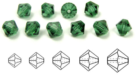 Turmaline, Czech Glass Beads, Machine Cut Bicones (MC Rondell, Diamond Shape), turmaline green crystals