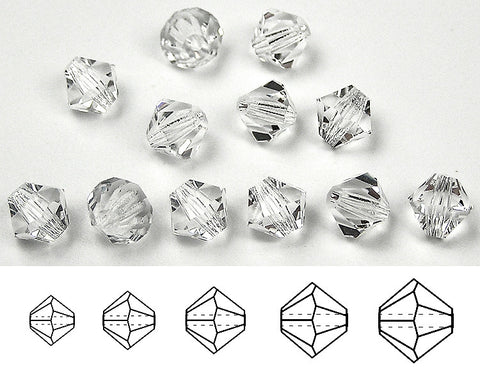Clear Crystal, Czech Glass Beads, Machine Cut Bicones (MC Rondell, Diamond Shape), transparent clear crystals