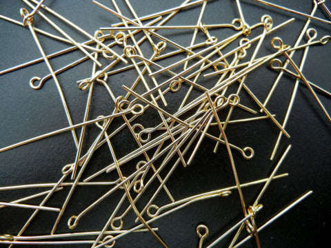 400 Eye pins 35mm (1 3/8 inch), Gold plated, 0.7mm wire 21 gauge, zz