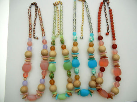 "4 Czech glass and wood bead necklaces 16 inch long, lobster w/3"" adjust. zz 150"