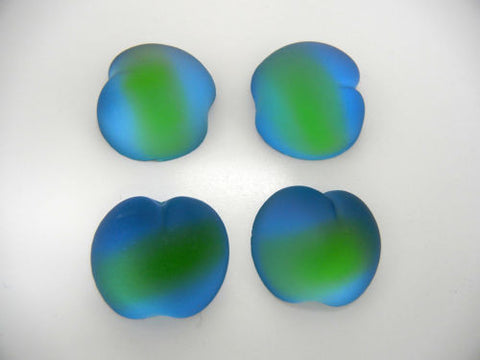 4 VINTAGE West German hand made fruit cabochons 20mm Apple blue/green Frosted #22 ii