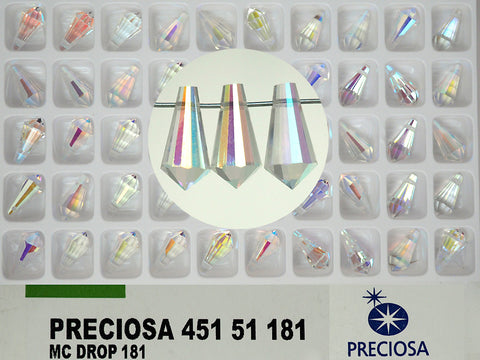 Crystal AB, Preciosa Genuine Czech Crystals, Drop #181 Pendants 6.5x13mm Crystal AB (top drilled), 48pcs