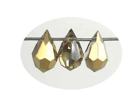 Crystal Aureate, Aurum Half coated, Czech Machine Cut Drop Pendants (top drilled)