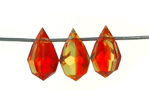 FireOpal (Citrine yellow and Light Siam red blend), Czech Machine Cut Drop Pendants (top drilled)