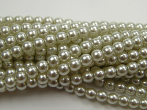 600 Czech Superior Quality Round Glass Pearls 4mm Viridian Lt. Green pearl
