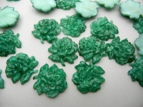 12 Gemstone Textured Rose Blossom Flatbacks size 18mm Natural Green Jade, ii 92, textured cabochons