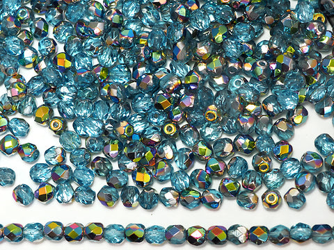 Aqua Vitrail coated, loose Czech Fire Polished Round Faceted Glass Beads