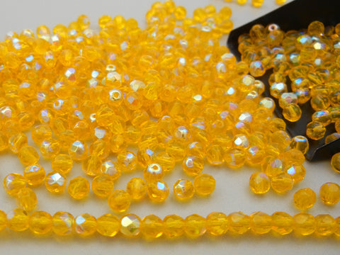 Citrine AB Coated, loose Czech Fire Polished Round Faceted Glass Beads, Size 4mm, 600pcs