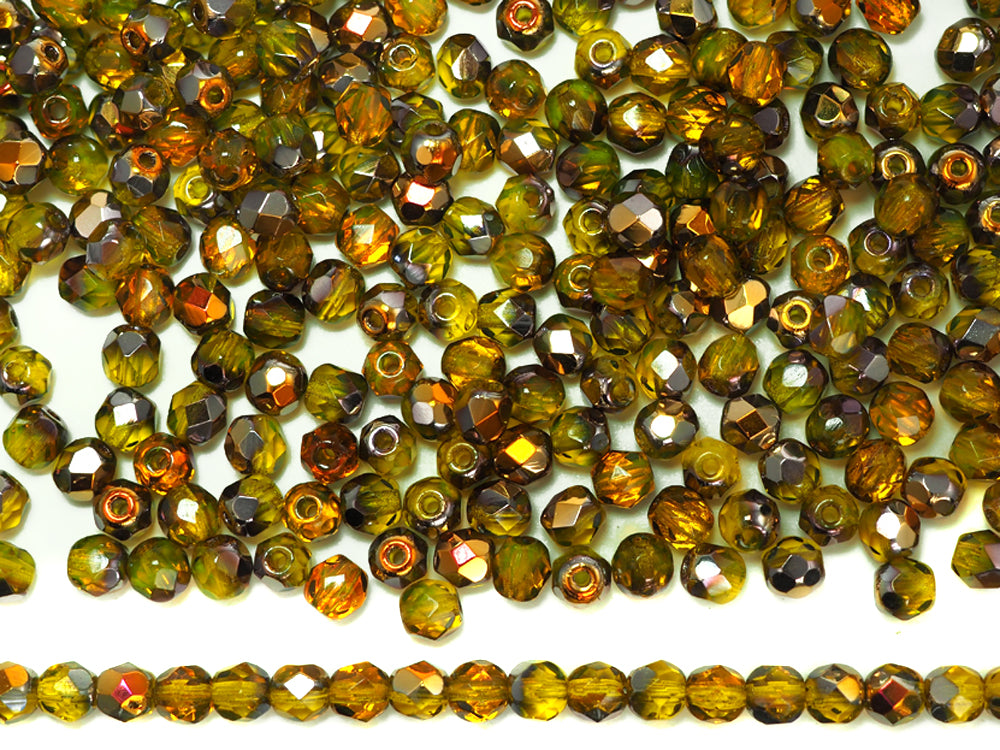 "Czech Fire Polished Round Faceted Beads in Citrine Santander coated 16/"" strand"