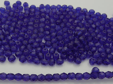Cobalt Blue, Czech Fire Polished Round Faceted Glass Beads, 16 inch strand