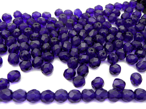 Cobalt Blue, loose Czech Fire Polished Round Faceted Glass Beads